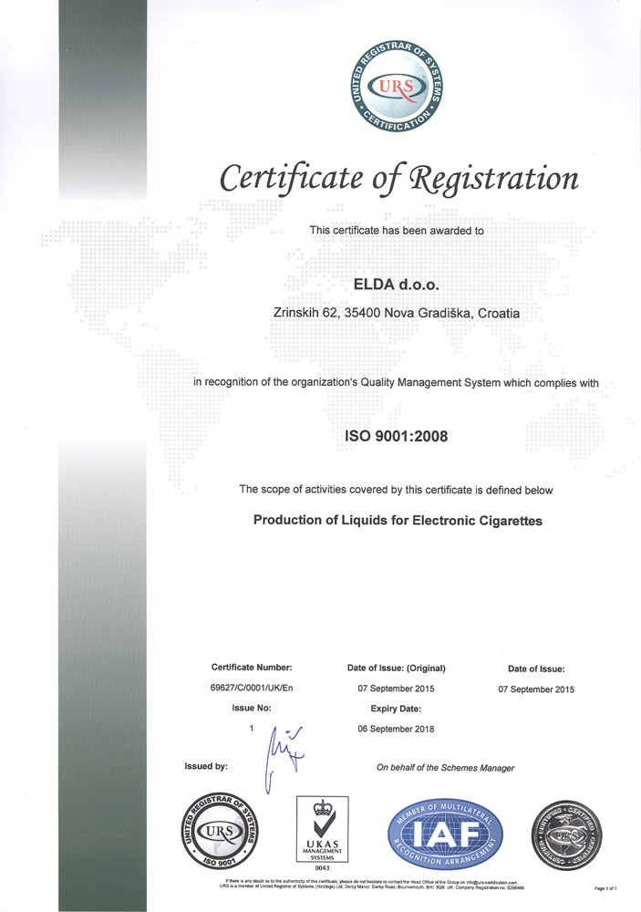 ELDA became proud holder of ISO 9001, ISO 14001 and OHSAS 18001 Certification