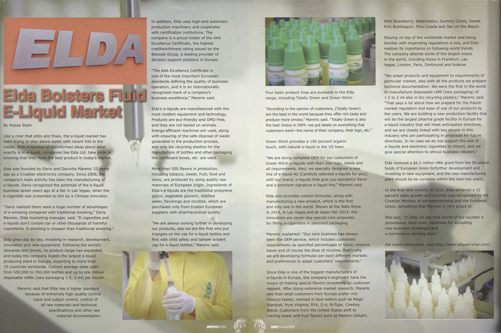 VAPE Magazine published article about ELDA