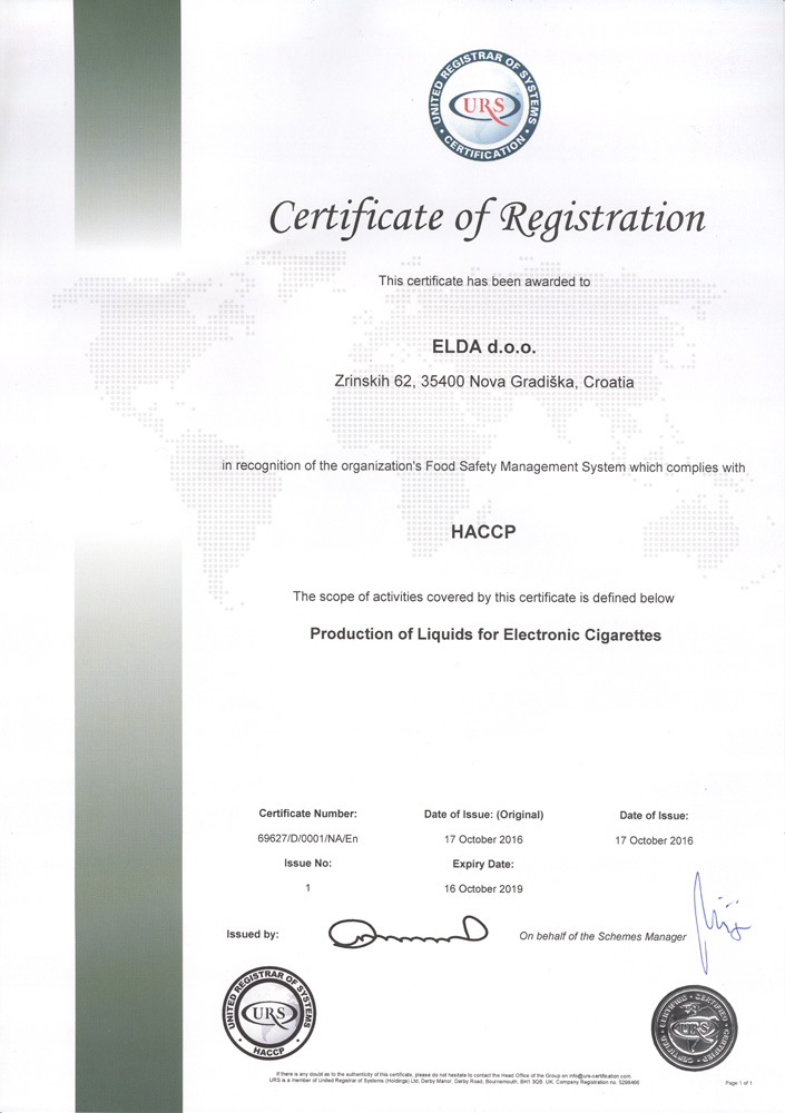ELDA became proud holder of HACCP & ISO 50001:2011 Certification