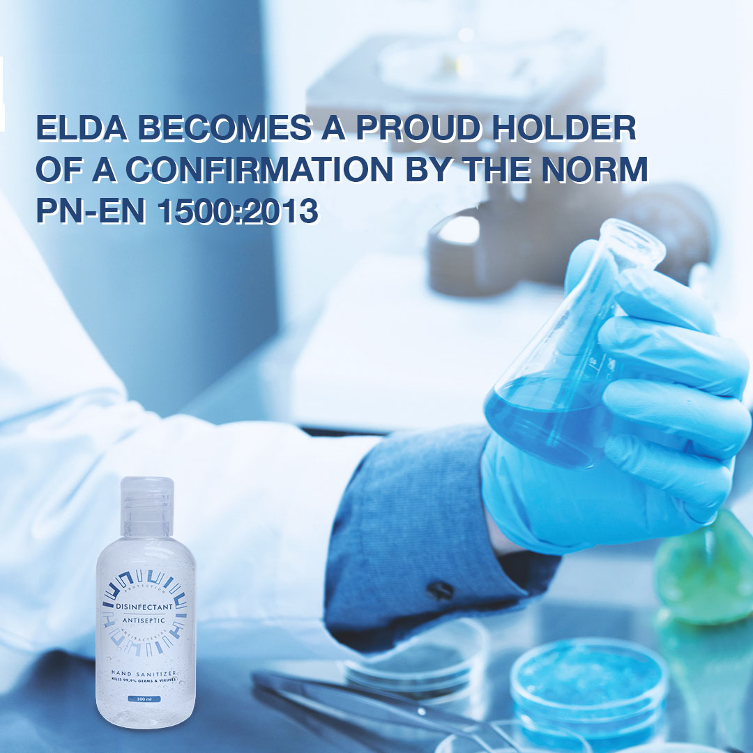 Elda receives a  confirmation for testing on PN-EN 1500:2013 - Chemical disinfectants and antiseptics -- Hygienic handrub