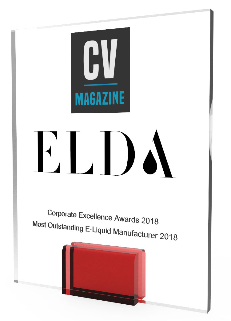 Corporate Vision awarded Elda for the Most Outstanding E-liquid manufacturer 2018