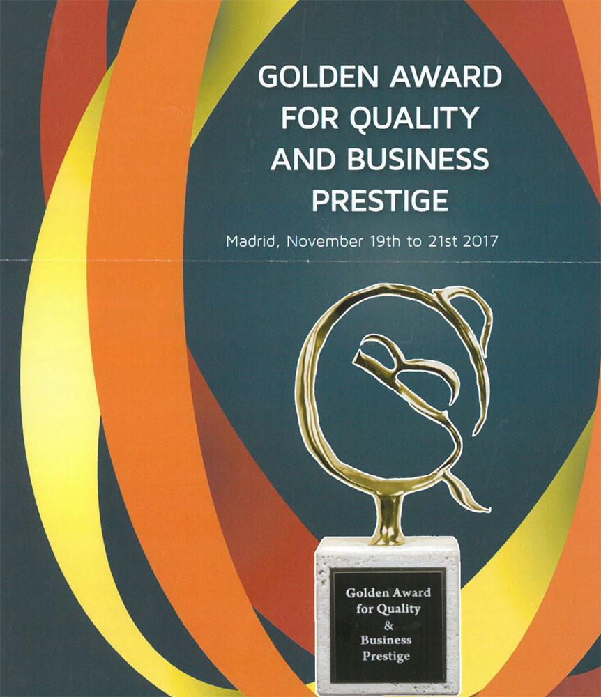 Golden Award for Quality & Business Prestige