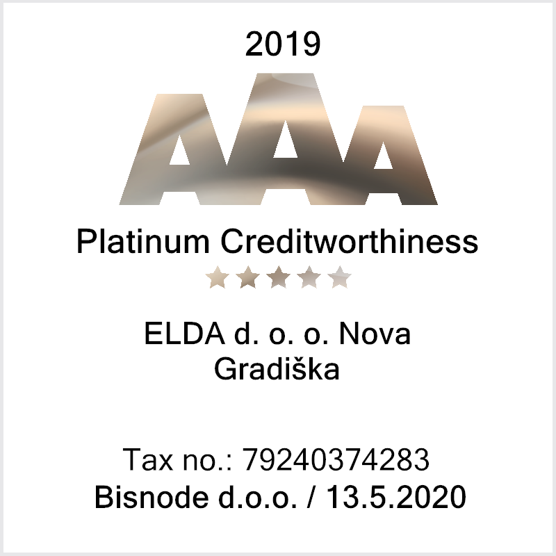 Elda receives Platinum Creditworthiness Certificate of Excellence in 2019.